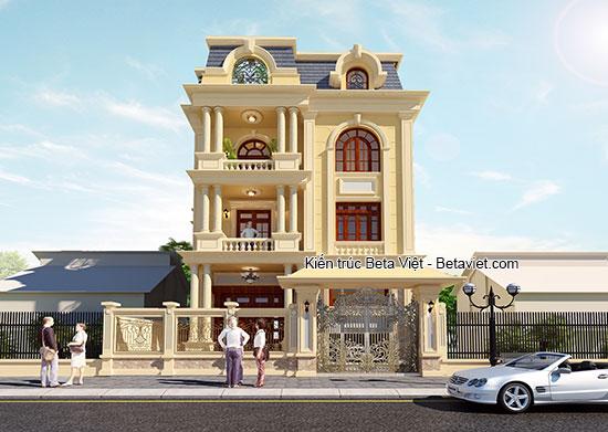 Biệt thự tân cổ điển diện tích 12x17m sử dụng cổng nhôm đúc cho cổng biệt thự