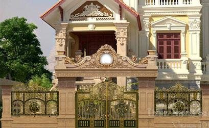 Mẫu cổng biệt thự đẹp BT27:Cổng nhôm đúc nguyên khối