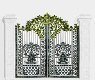 Mẫu cổng nhôm đúc CN64: Cổng hoa lá tây màu ghi