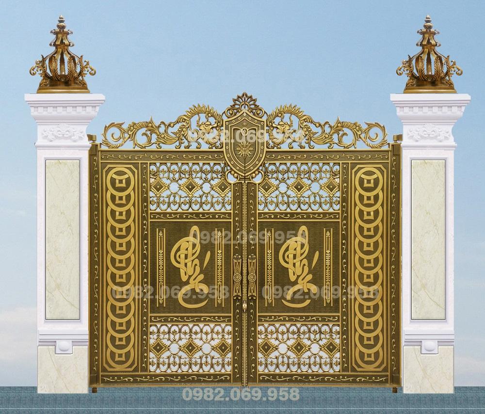Mẫu cổng nhôm đúc - CN68 : Cổng chữ phúc